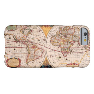 Mapa del mundo del vintage circa 1600 funda de iPhone 6 barely there