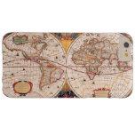 Mapa del mundo del vintage circa 1600 funda de iPhone 6 plus barely there