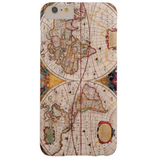 Mapa del mundo del vintage circa 1600 funda de iPhone 6 plus barely there