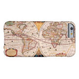 Mapa del mundo del vintage circa 1600 funda barely there iPhone 6