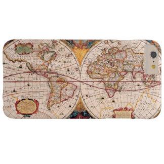 Mapa del mundo del vintage circa 1600 funda barely there iPhone 6 plus