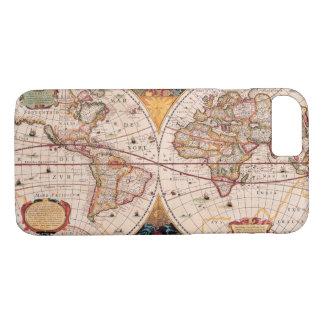 Mapa del mundo del vintage circa 1600 funda iPhone 7