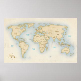 Mapa del mundo del vintage con los países póster