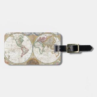 Mapa del mundo del vintage etiquetas de maletas
