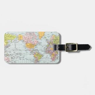 Mapa del mundo del vintage etiquetas para maletas