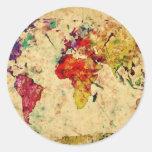 Mapa del mundo del vintage etiquetas redondas