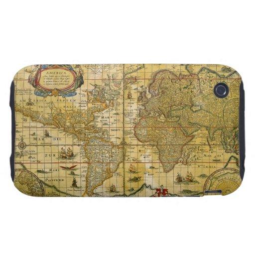 Mapa del mundo del vintage tough iPhone 3 coberturas