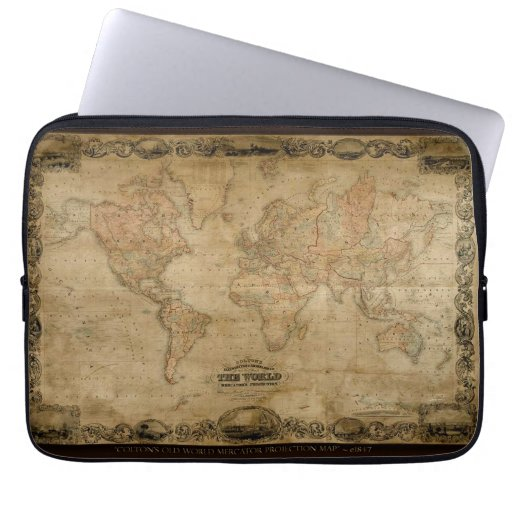 Mapa del mundo del vintage funda portátil