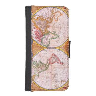 Mapa del mundo del vintage funda cartera para teléfono