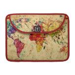 Mapa del mundo del vintage fundas para macbook pro