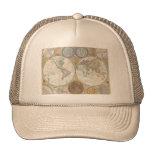 Mapa del mundo del vintage gorras