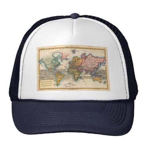 Mapa del mundo del vintage gorros