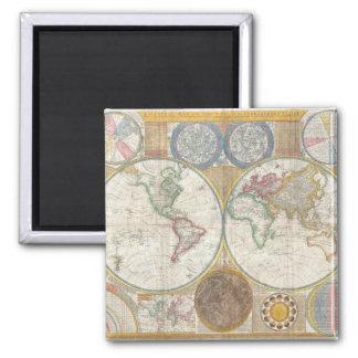 Mapa del mundo del vintage imán cuadrado