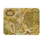 Mapa del mundo del vintage imán rectangular
