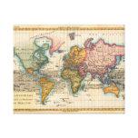 Mapa del mundo del vintage impresion de lienzo