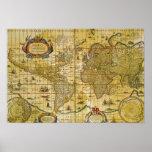 Mapa del mundo del vintage impresiones
