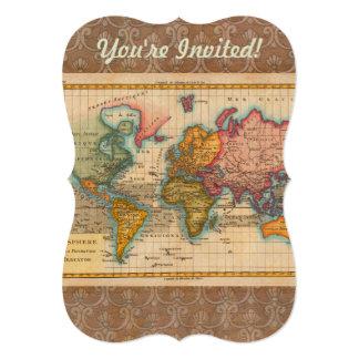 """Mapa del mundo del vintage invitación 5"""" x 7"""""""