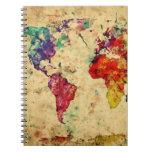 Mapa del mundo del vintage libreta espiral