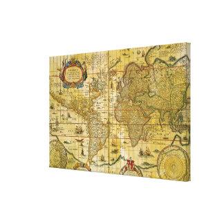 Mapa del mundo del vintage lona estirada galerías
