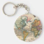Mapa del mundo del vintage llavero