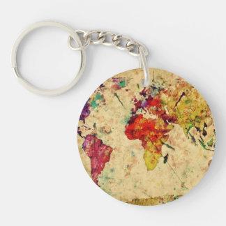 Mapa del mundo del vintage llavero redondo acrílico a doble cara