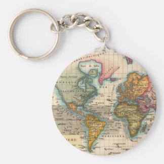 Mapa del mundo del vintage llavero redondo tipo pin
