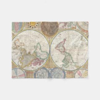 Mapa del mundo del vintage manta de forro polar