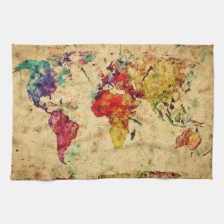 Mapa del mundo del vintage toalla de mano