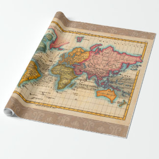 Mapa del mundo del vintage papel de regalo