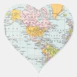 Mapa del mundo del vintage pegatina en forma de corazón
