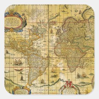 Mapa del mundo del vintage calcomania cuadradas personalizadas
