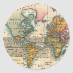 Mapa del mundo del vintage pegatina redonda