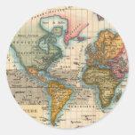 Mapa del mundo del vintage pegatinas redondas