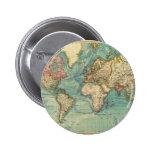 Mapa del mundo del vintage pin redondo de 2 pulgadas