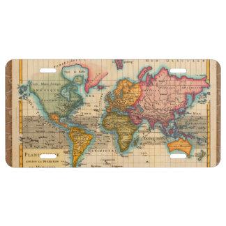 Mapa del mundo del vintage placa de matrícula