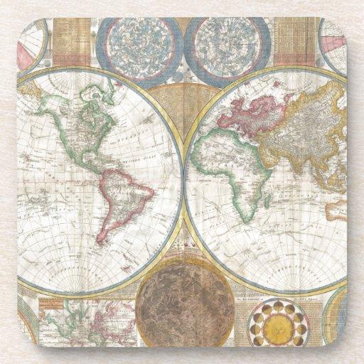Mapa del mundo del vintage posavasos