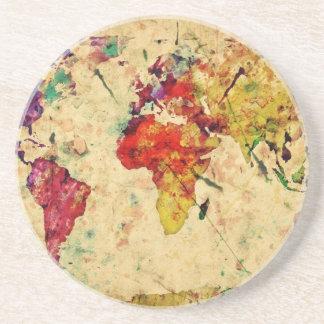 Mapa del mundo del vintage posavasos personalizados