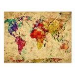 Mapa del mundo del vintage postal