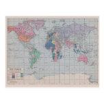 Mapa del mundo del vintage - postal