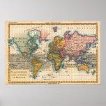 Mapa del mundo del vintage poster