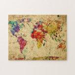 Mapa del mundo del vintage puzzle con fotos