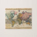 Mapa del mundo del vintage puzzles con fotos