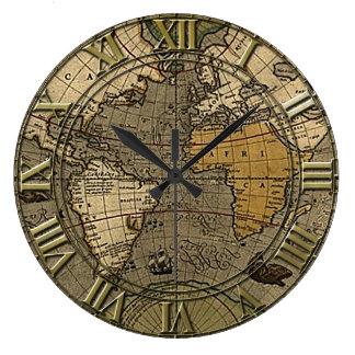 Mapa del mundo del vintage relojes