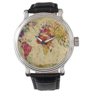 Mapa del mundo del vintage relojes de pulsera