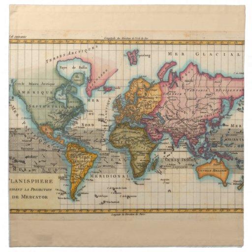 Mapa del mundo del vintage servilleta imprimida