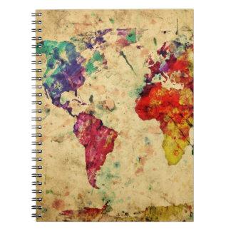 Mapa del mundo del vintage spiral notebook