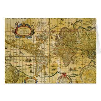Mapa del mundo del vintage tarjeta
