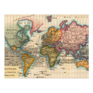Mapa del mundo del vintage tarjetas postales