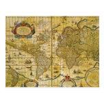 Mapa del mundo del vintage tarjeta postal