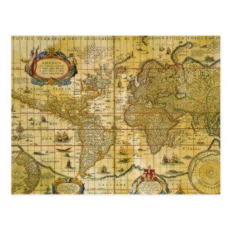 Mapa del mundo del vintage postales